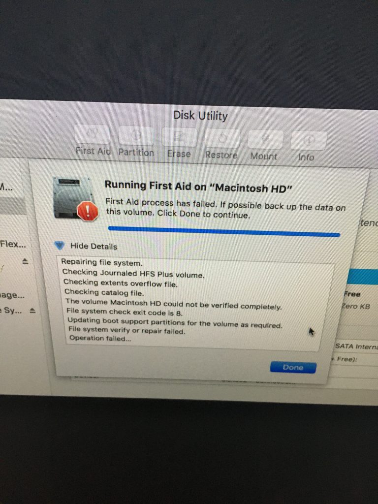 imac ssd upgrade, hard drive failing, first aid process has failed